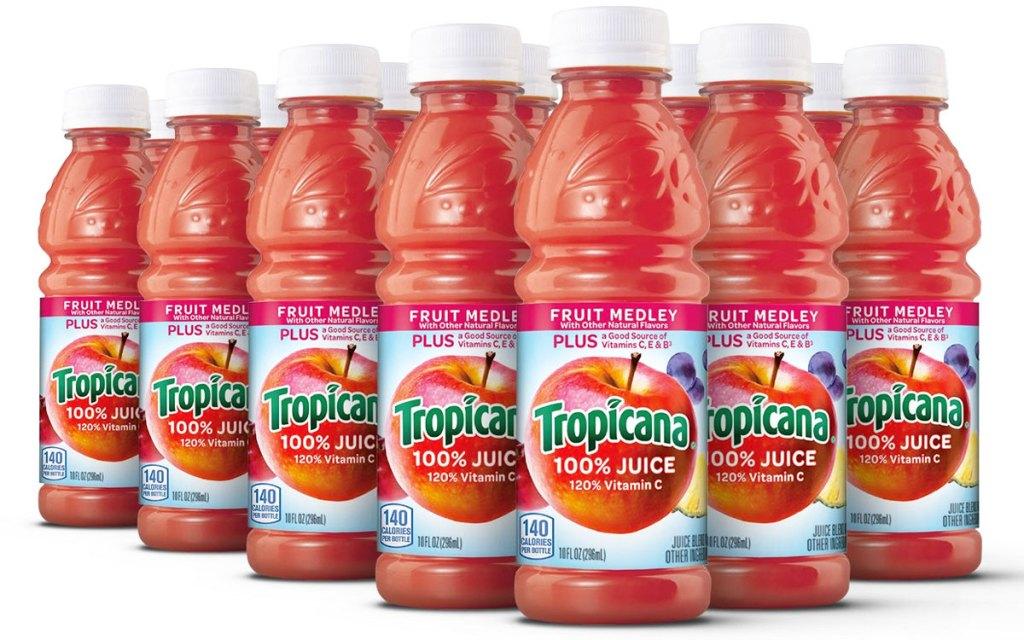 bottles of tropicana 100% juice in fruit medley flavor
