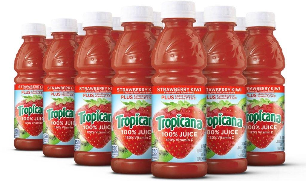 bottles of tropicana 100% juice in strawberry kiwi flavor