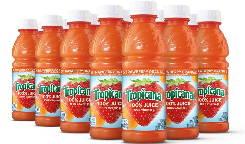 bottles of tropicana 100% juice in strawberry orange flavor
