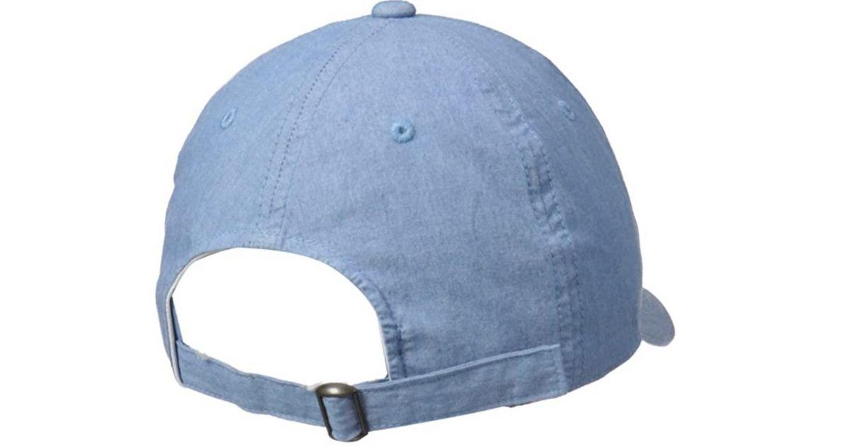 back view of denim hat with adjustable slide strap