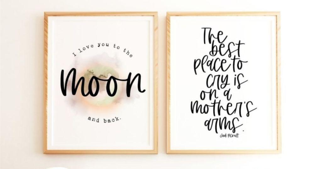 two motherhood art prints
