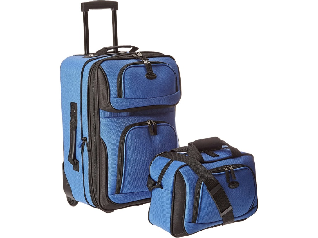 blue suitcase and blue carry-on tote bag