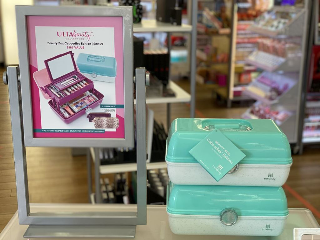 ULTA Beauty Box caboodles on shelf next to display
