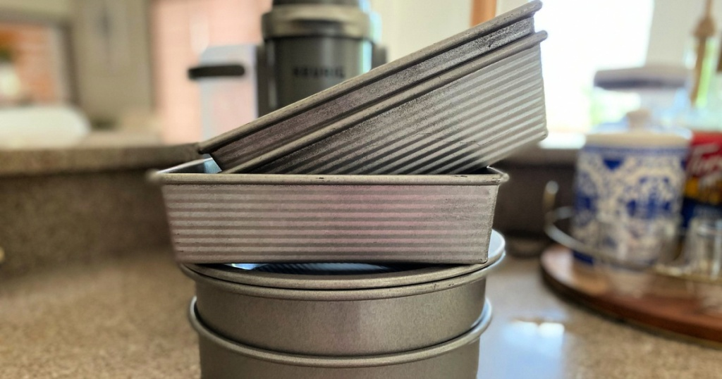 USA Pans stacked on counter in kitchen