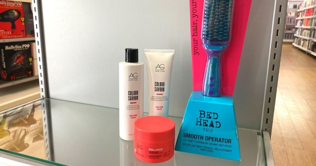 Ulta Hair Event products on shelf AG Hair, Bed Head, and Wella
