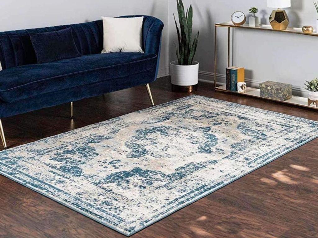 Vintage Distressed Area rug in living room