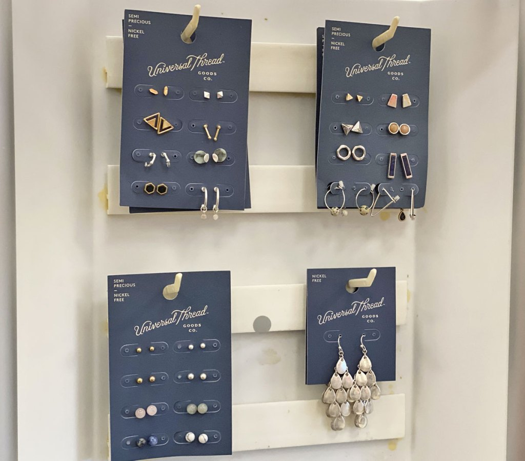 sets of Universal Thread brand earring sets on display at Target