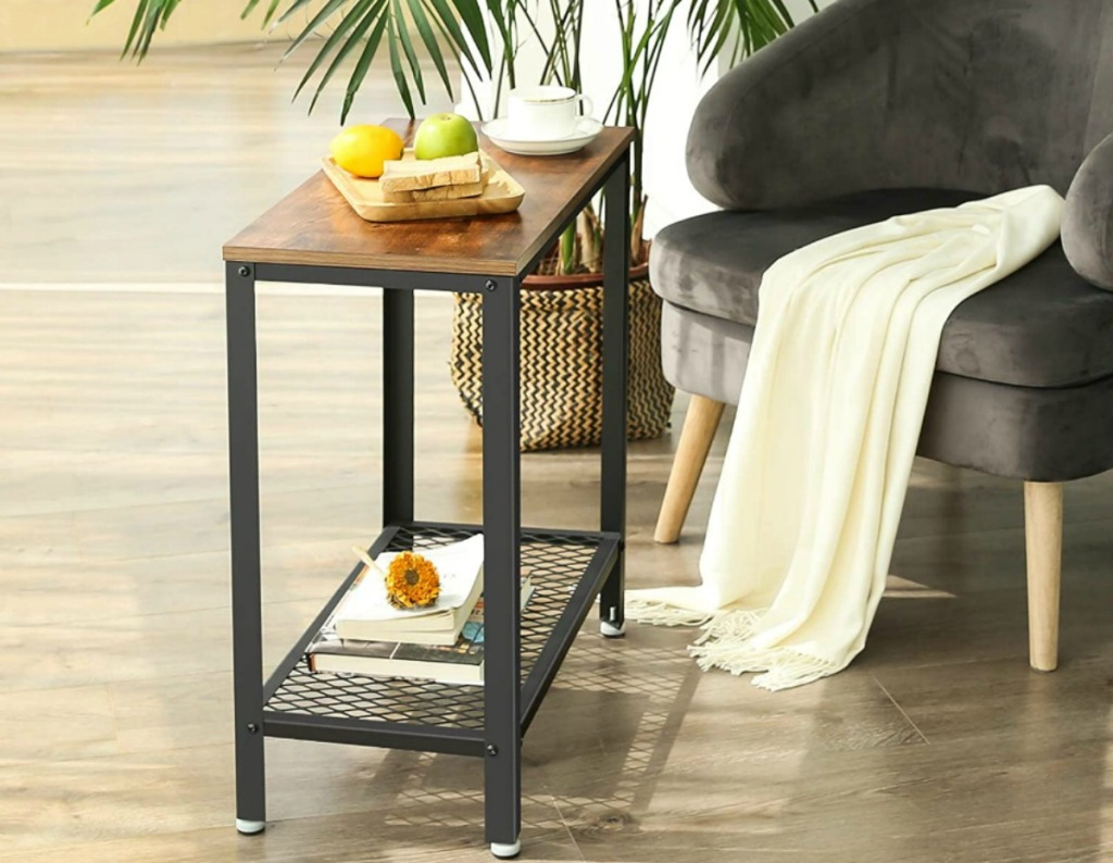 Industrial Side Table next to gray armchair