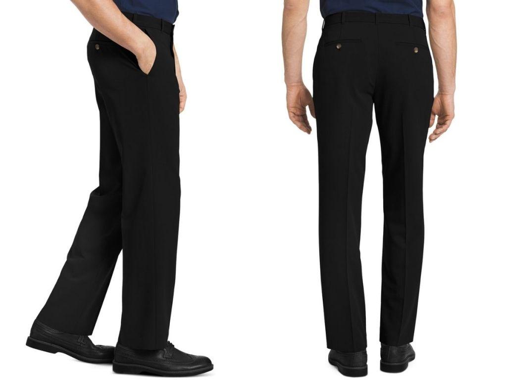 two views of man in black dress pants