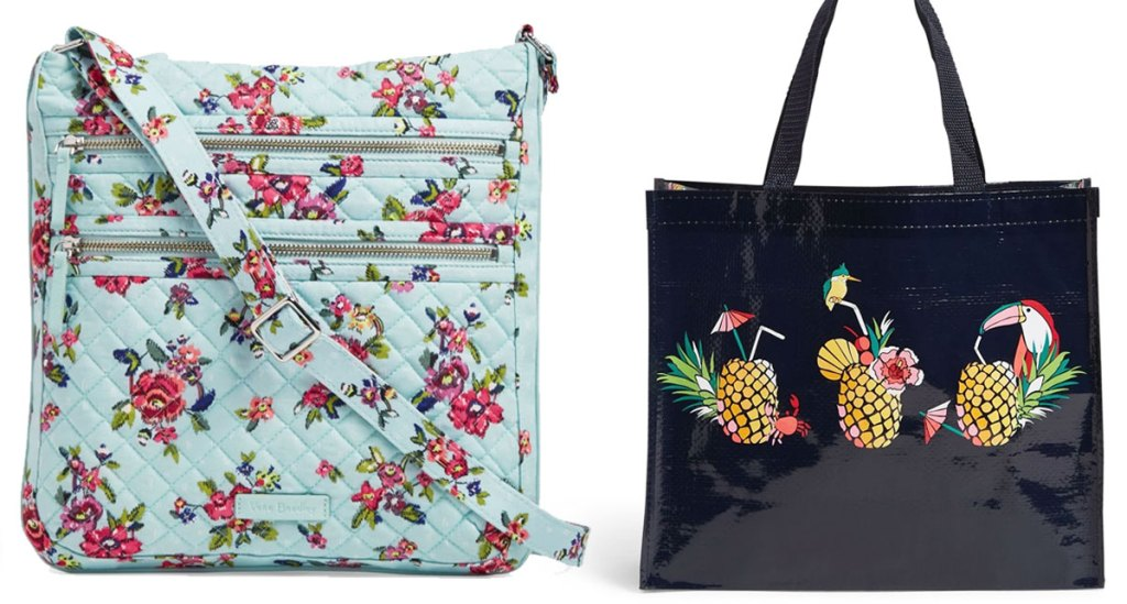 light blue floral print crossbody bag and black with pineapple print reusable shopping tote bag