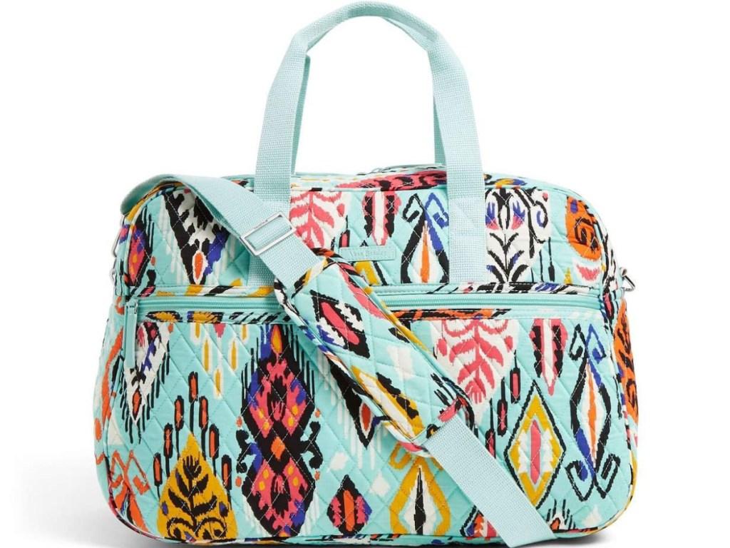 blue patterned traveler bag