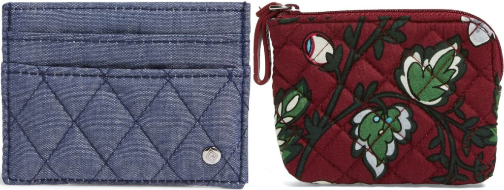 blue denim card case and red floral coin purse