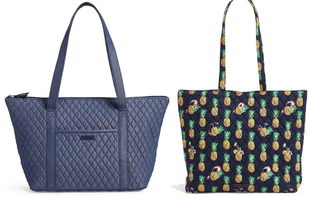 navy blue and pineapple print vera bradley tote bags