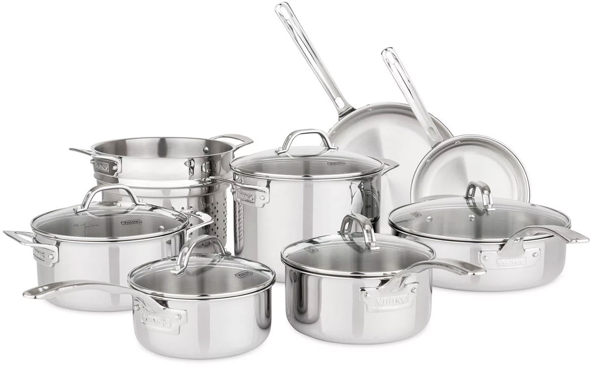 stainless steel 13 piece cookware set with pots, frying pans, and glass lids