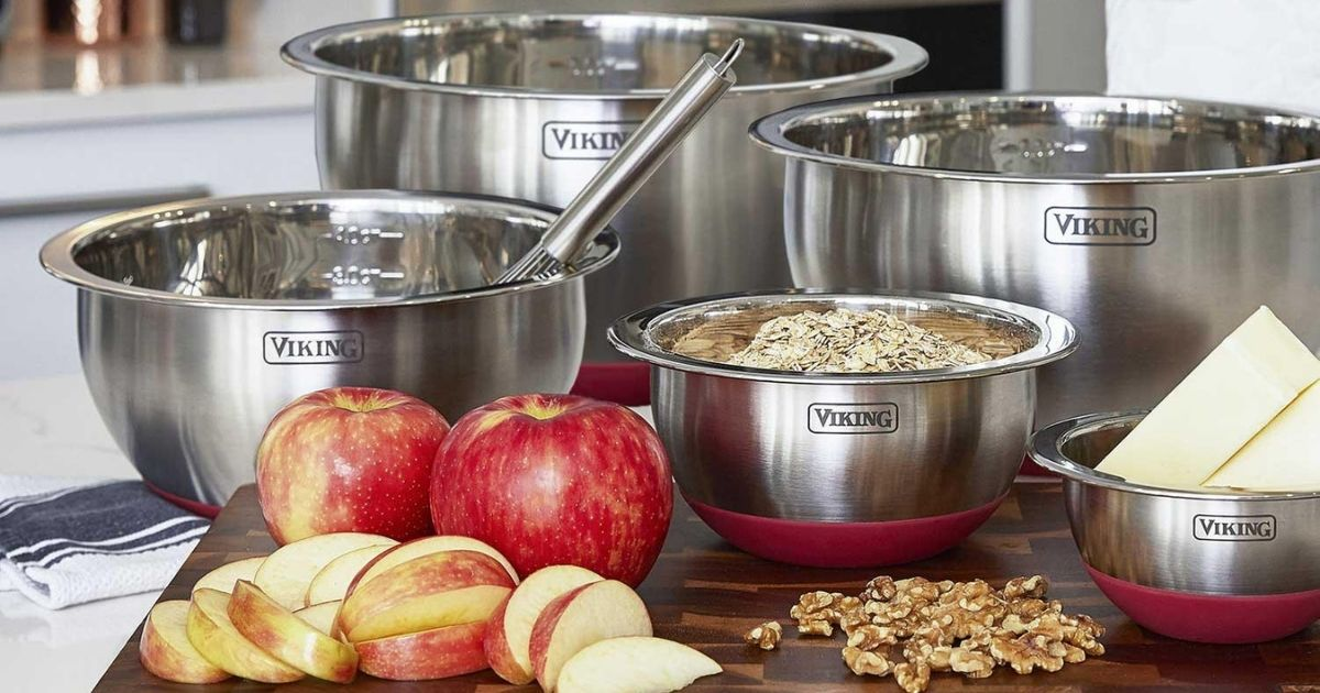 Viking Stainless Steel Bowls on a counter with apples, oats, and butter