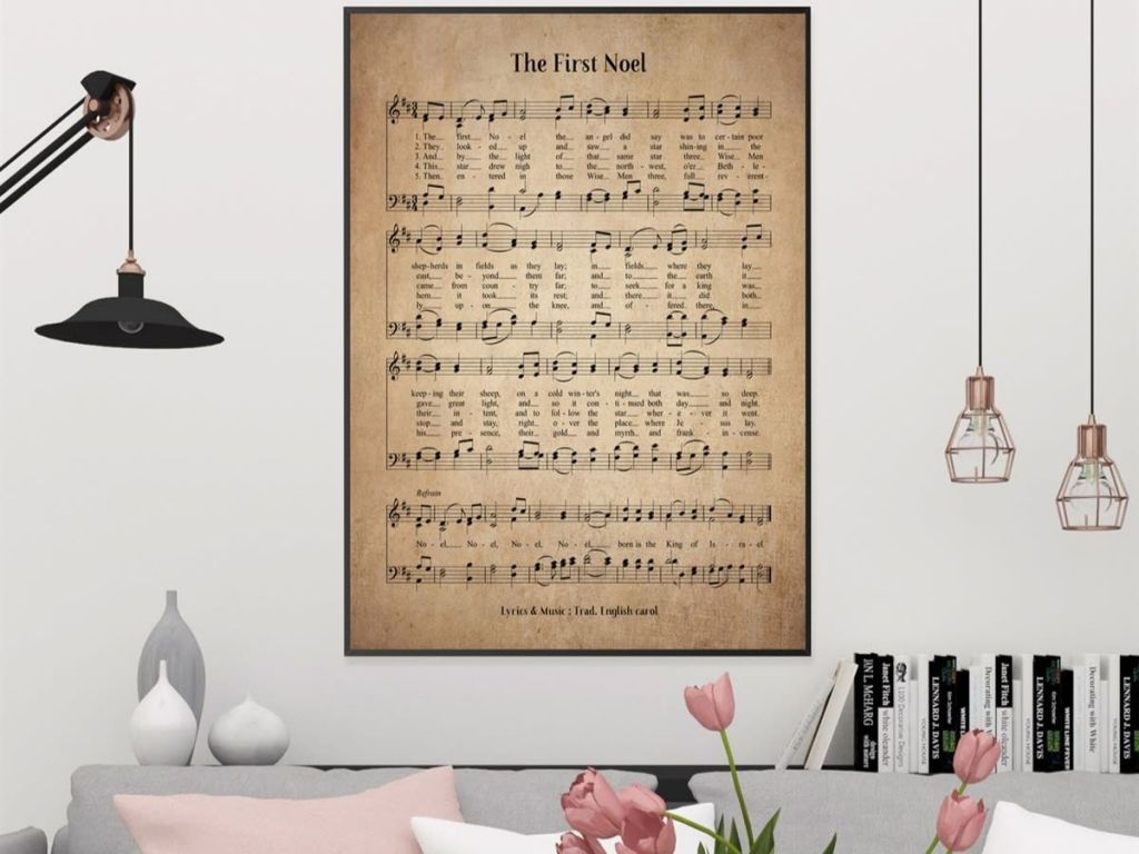 Vintage Hymn Print framed and hung over a couch