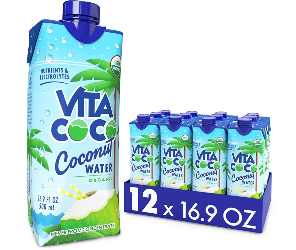12-pack of Vita Coco Organic Coconut water drinks with one large bottle in front