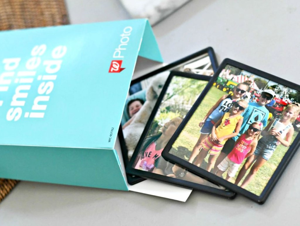 framed photo magnets coming out from blue walgreens photo box