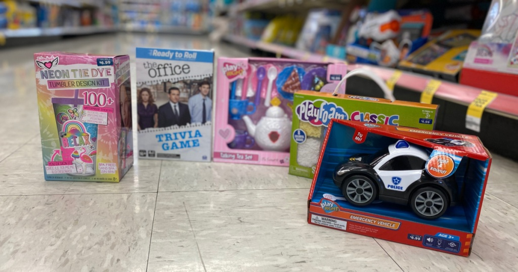 group of toys on the floor at Walgreens