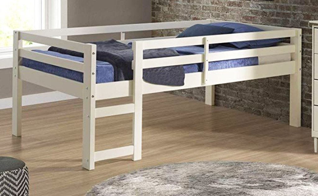 white wood low loft bed in boys room