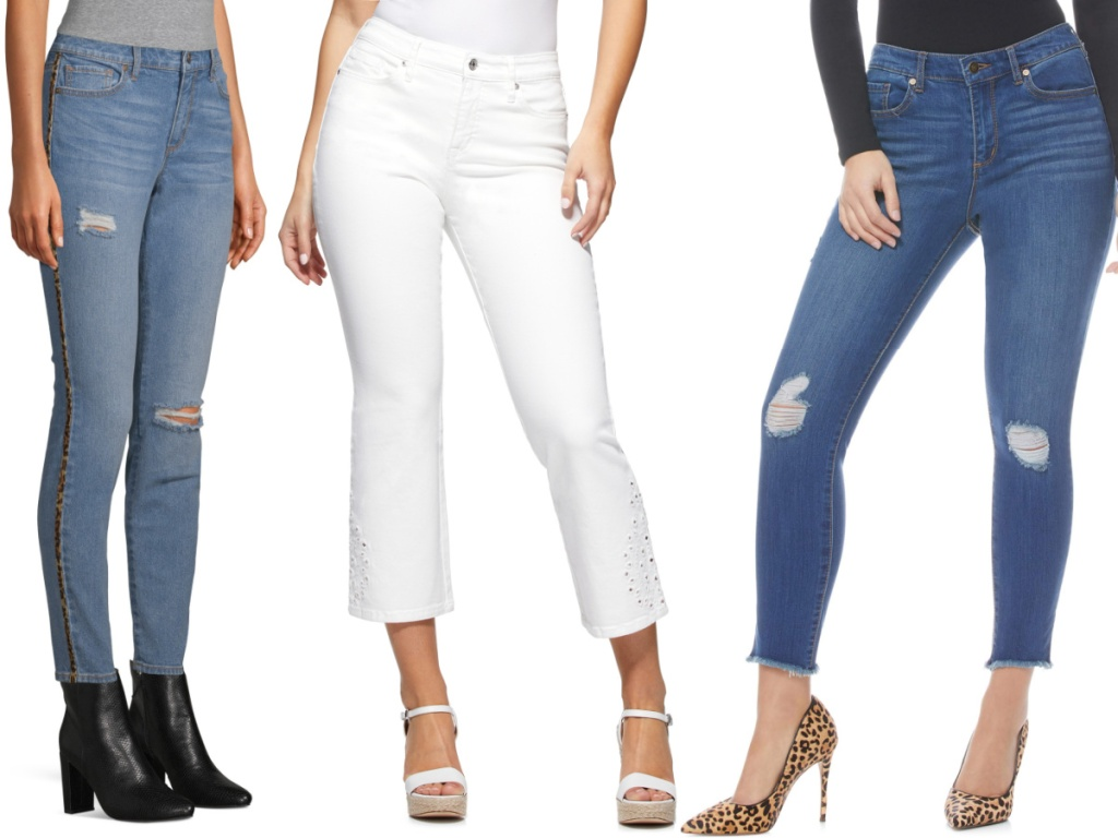 woman in blue jeans with animal print stripe down side, woman in white ankle jeans, and woman in blue ankle jeans