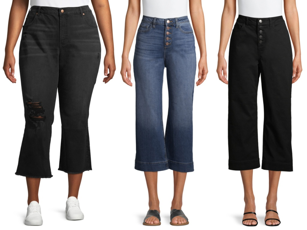 woman in flare black capri jeans, woman in blue capri jeans, and woman in back capri jeans