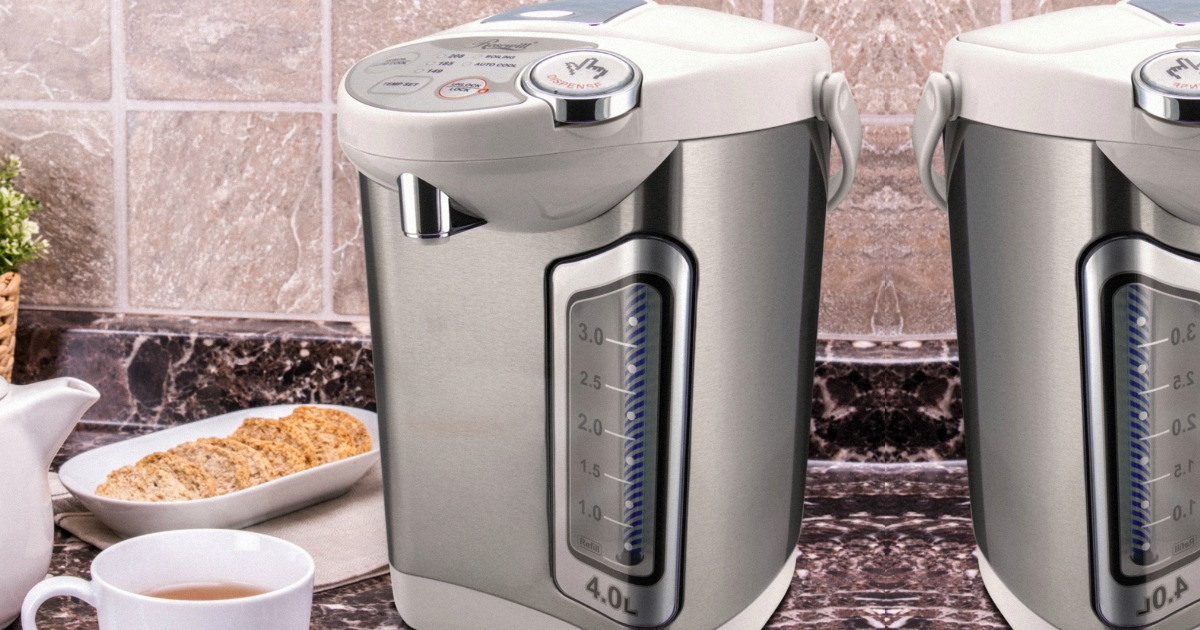 Silver electric water heater on counter top