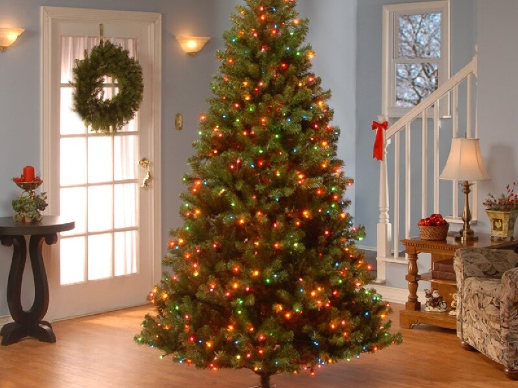 fully lighted christmas tree