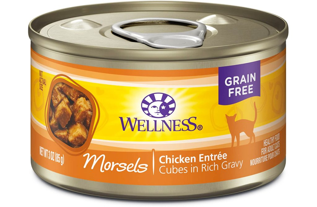 yellow and orange can of wellness chicken flavor canned wet cat food