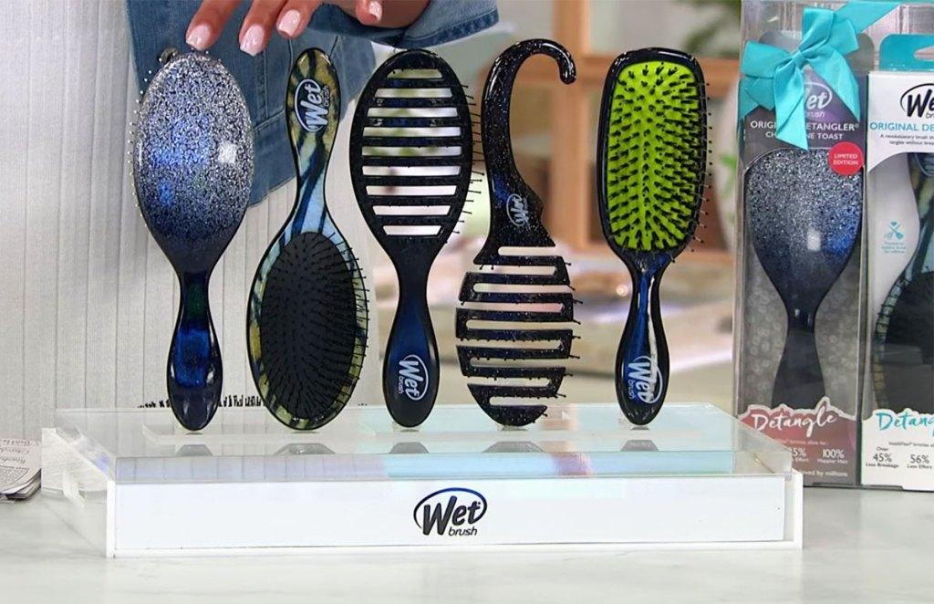 set of 5 wet brush hair brushes on display