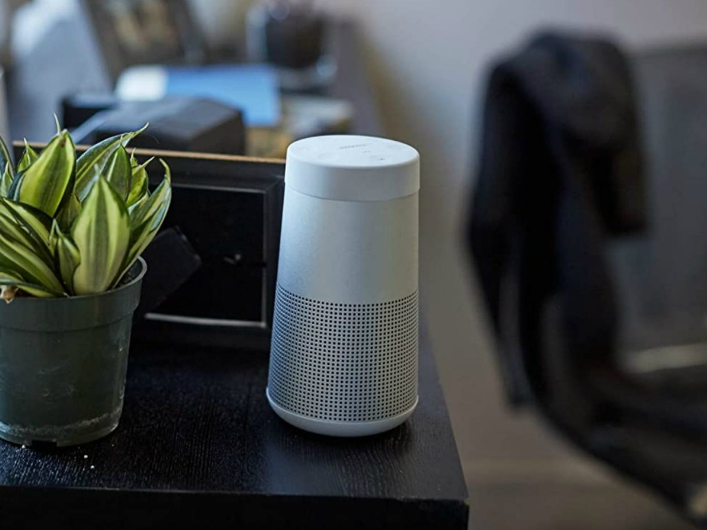 White speaker on a table top near a live plant