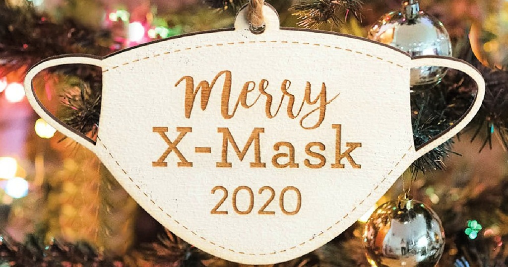 White 'Merry X-Mask 2020' Wood Ornament