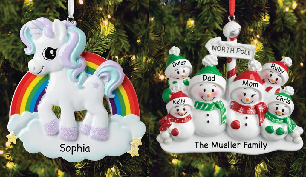 White Unicorn Primary Rainbow and Family Of Six North Pole Personalized Ornaments