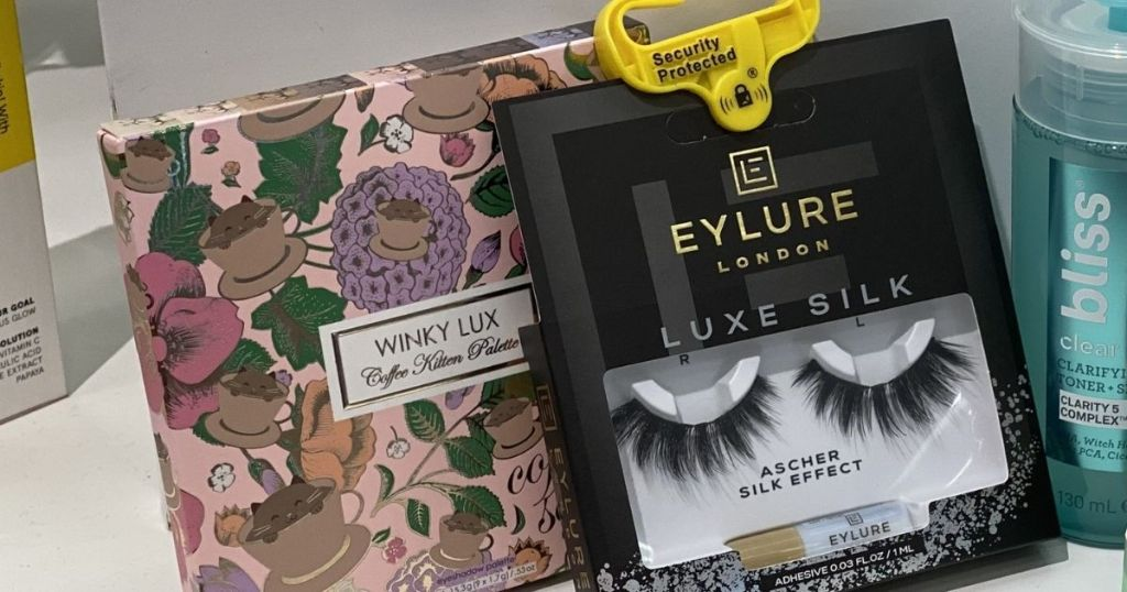 close up of Winky Lux and Eylure Lashes