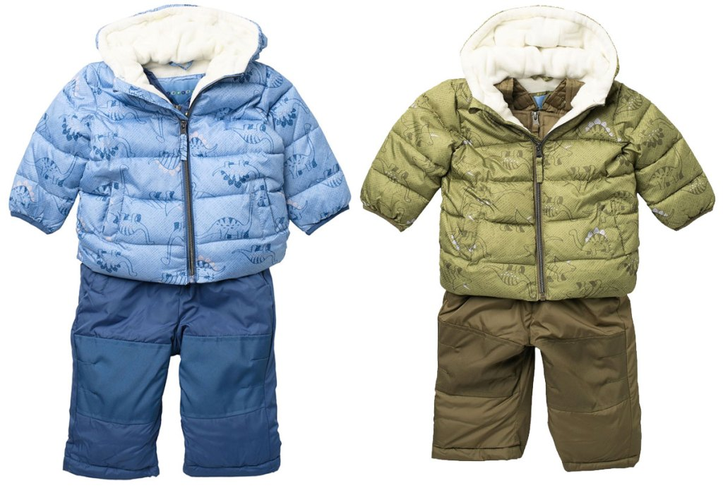 baby boys snowsuit sets with dino print jackets in blue and green colors