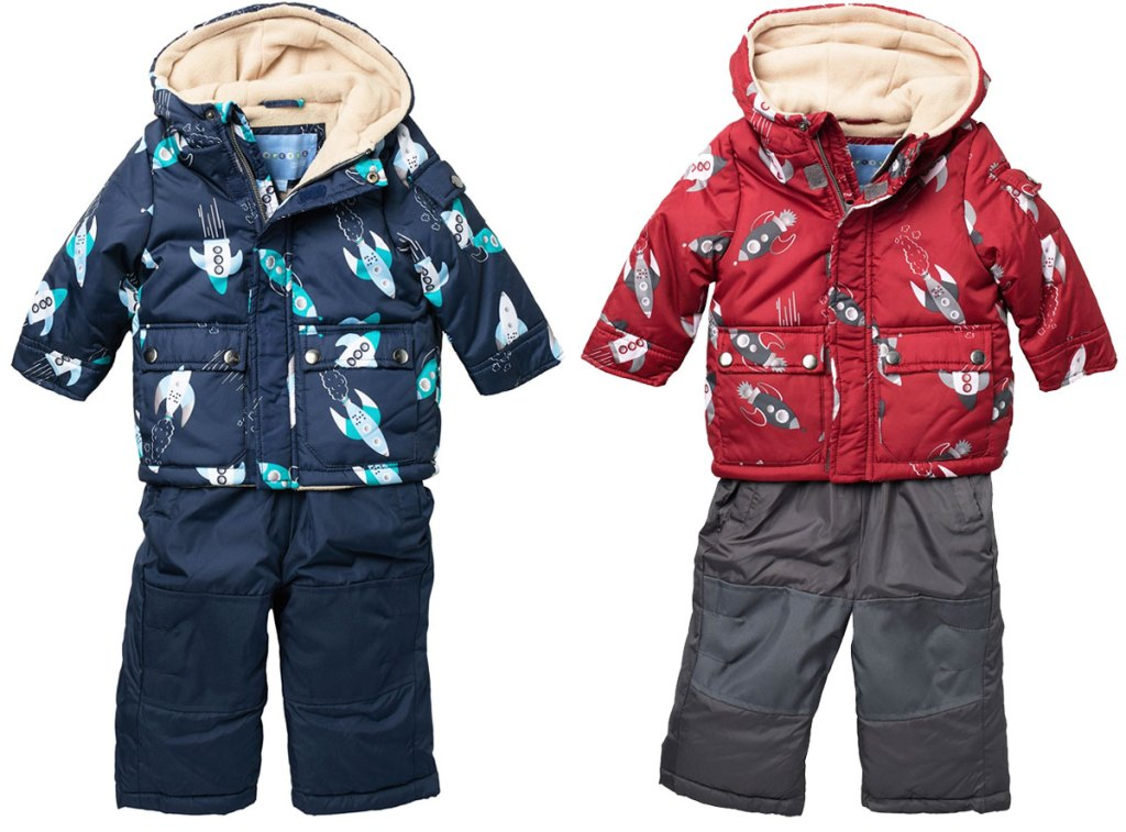 baby boys snowsuit sets with rocket print jackets in navy blue and red colors