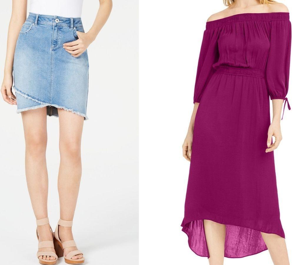 womens denim skirt and off the shoulder dress