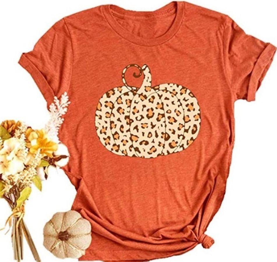 Womens Orange Pumpkin Shirt