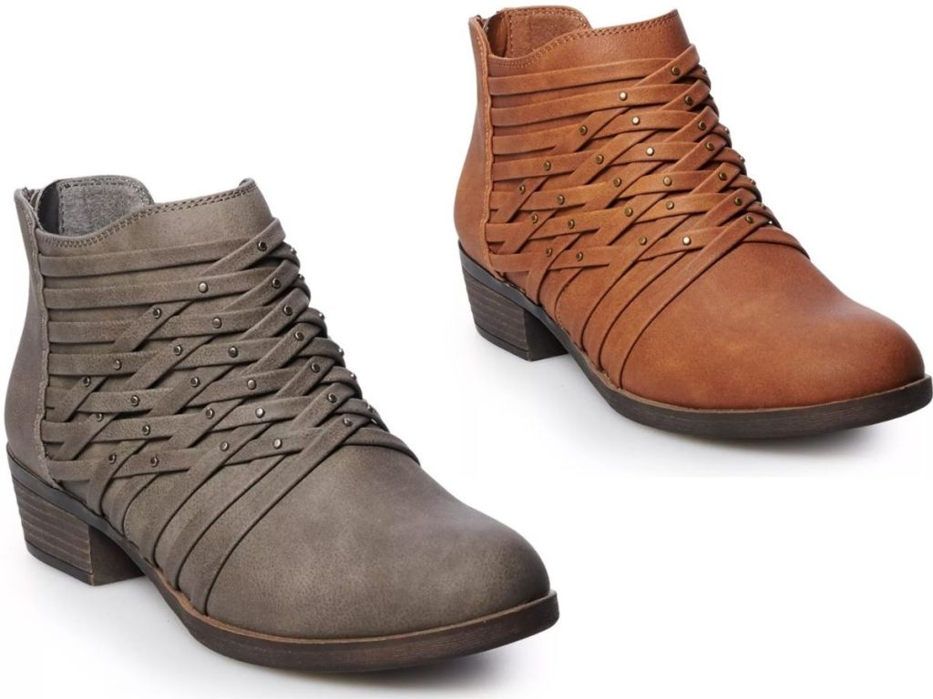 two pairs of Womens SO Booties from Kohls
