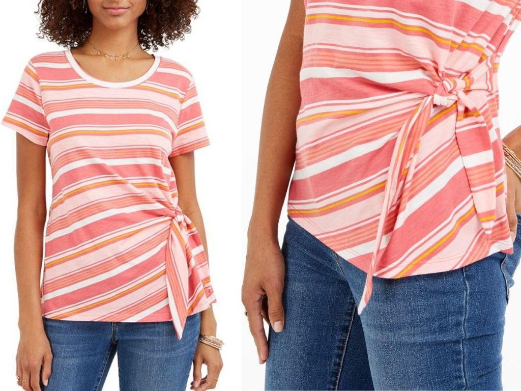 Macy's Women's Side Tye Short Sleeve Shirt