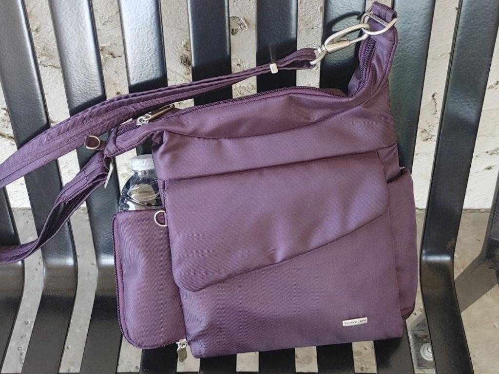 Women's Travelon Crossbody purse on bench