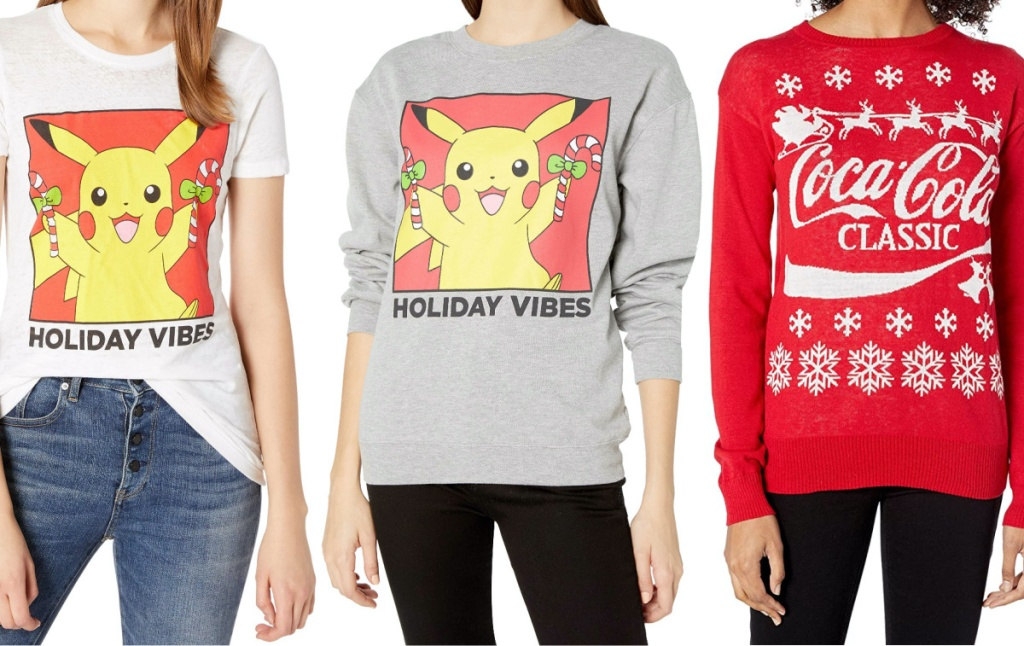 woman in Pokemon Christmas tee, woman in Pokemon Christmas sweatshirt, and woman in red Coca-Cola Christmas sweater