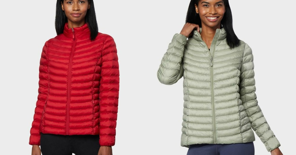 Women's packable jackets as shown by models