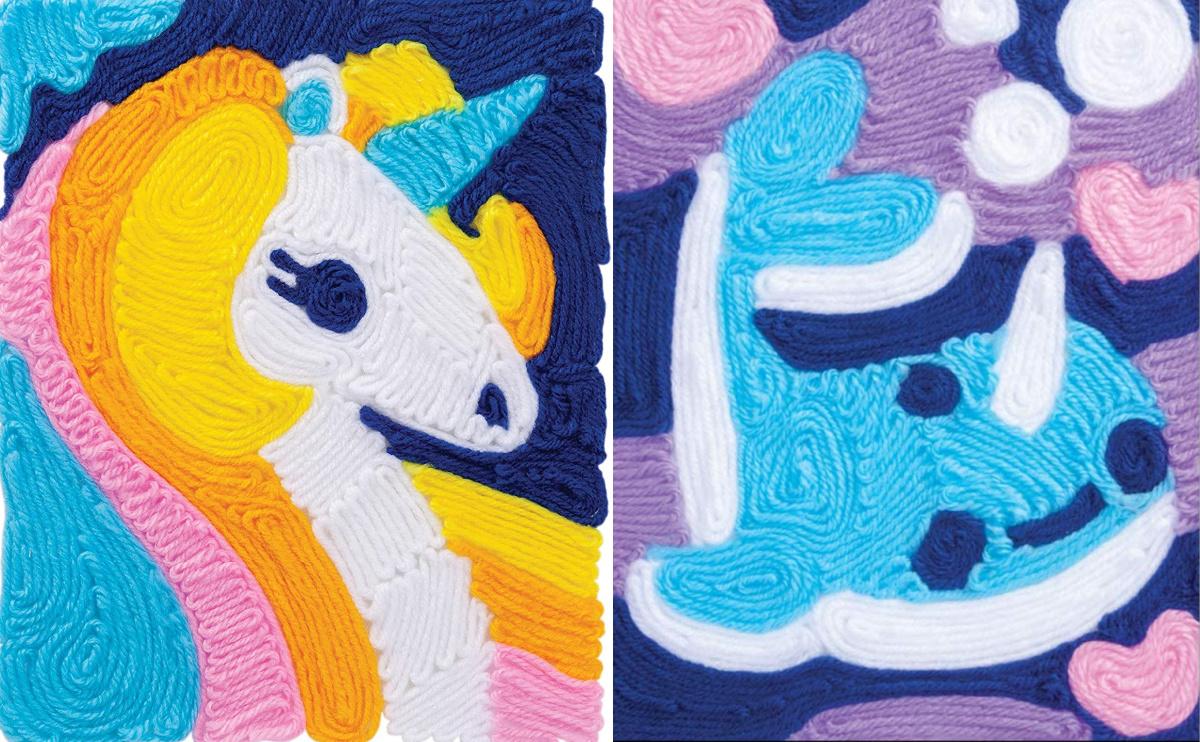 Unicorn yarn craft next to a Narwhal yarn craft for kids