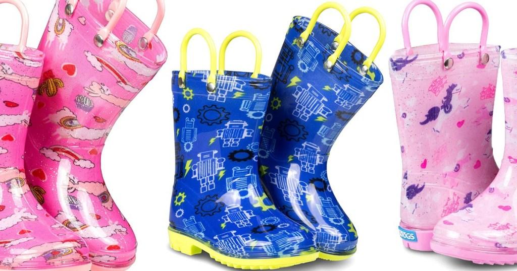 3 pairs of kids rain boots