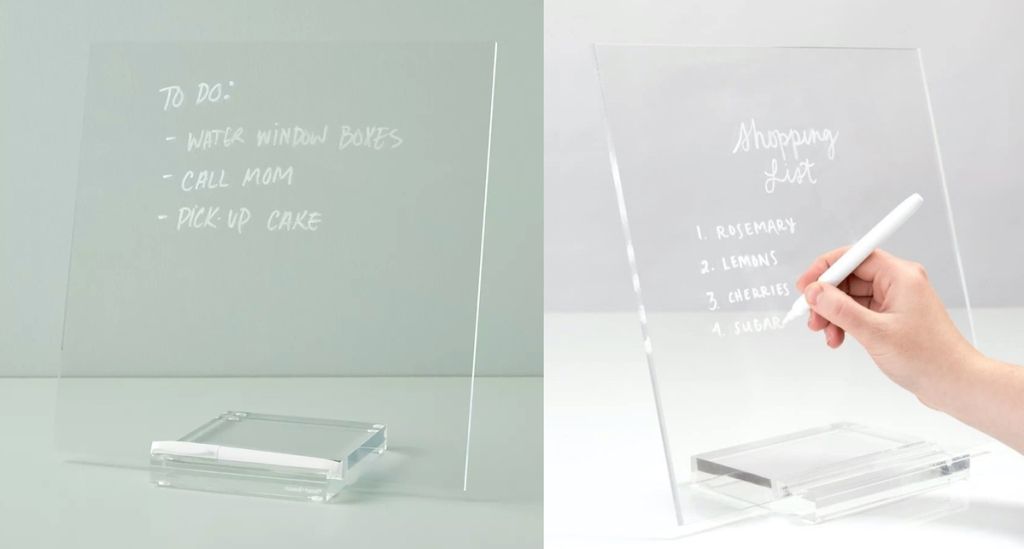 side by side comparison of acrylic message boards and hand writing with marker - anthropologie dupes