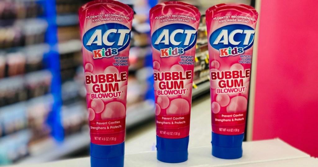 act toothpaste three tubes of bubblegum