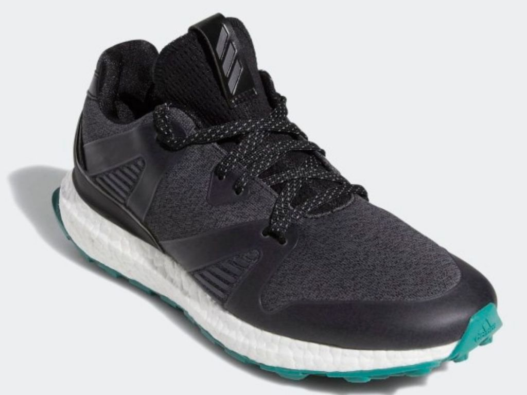 black and gray adidas shoes with white and teal soles