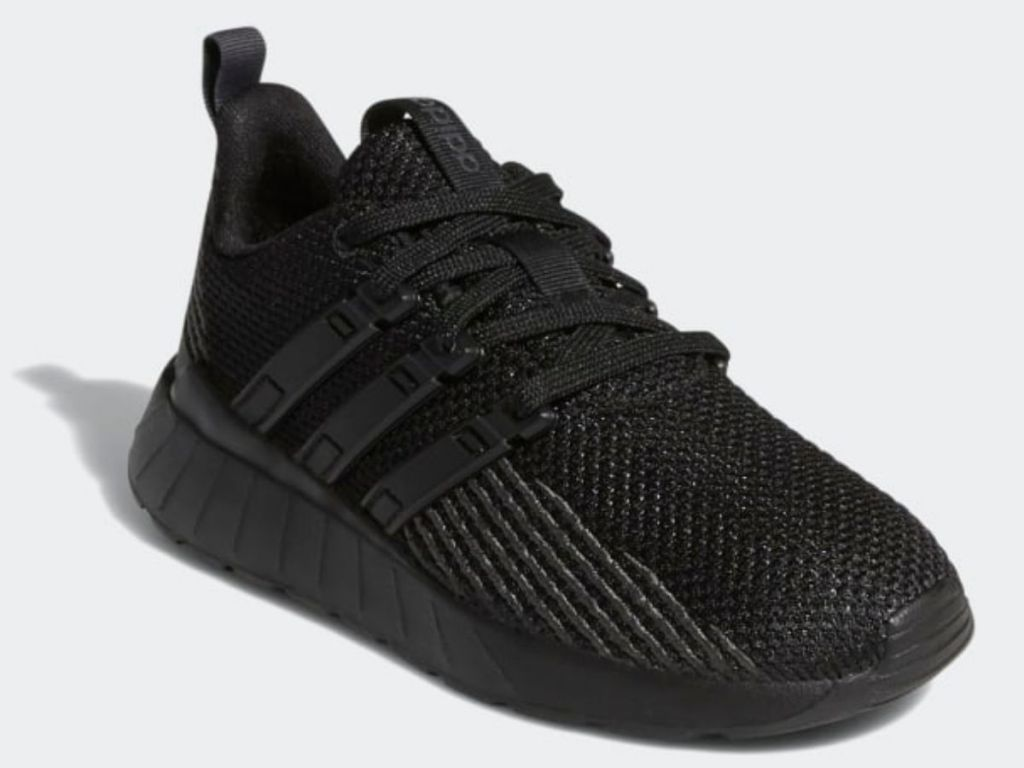 black adidas lace up kids shoes
