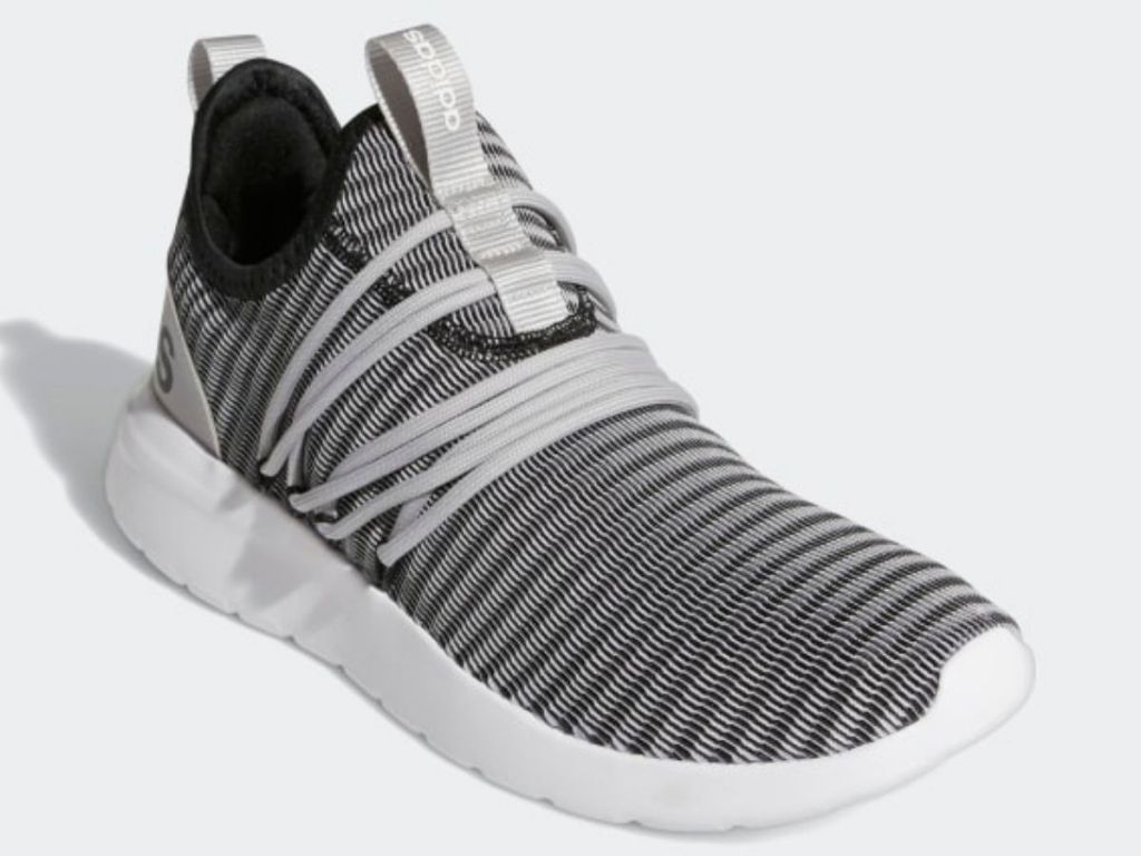 gray black and white striped adidas lace up mens shoes